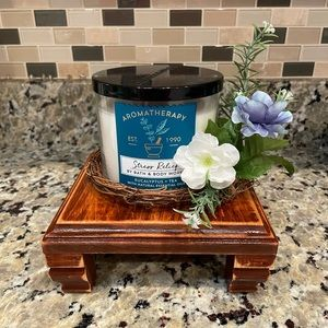 Farmhouse Wood Distressed Riser/Candle Stand